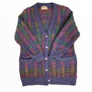 Vintage Yves Venet Chunky Knit Grandpa Sweater Cardigan Purple Gold Wool Blend